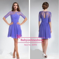 High Quality Hot Long Sleeves Purple Lace Bridesmaid Dress Knee Length Formal Dresses 2014 Free Shipping
