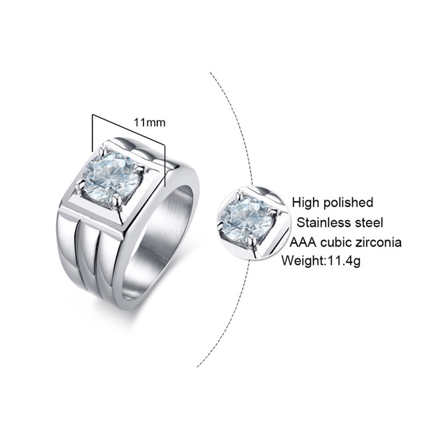 Men's Ring 316l Stainless Steel Jewelry Wedding Ring Claw Setting Big AAA Cubic Zirconia Stone Not Lose