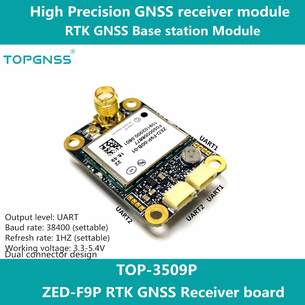 Designed with the ZED F9P F9 module the RTK high precision GNSS receiver can be used