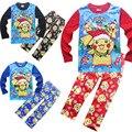 3-10 T 2016 Chegada Nova Pikachu Pijama Pokekon Ir Outono Inverno das Crianças Pijama de Natal Pokemon Traje Camisa dois Terno Pedaço
