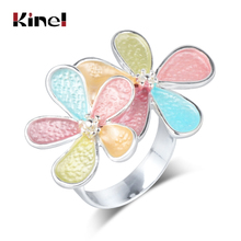 Kinel 2019 New Trendy Enamel Rings For Women Multi-layer Crystal Flower Wedding Ring Female Vintage Jewelry Wholesale Girl Gift