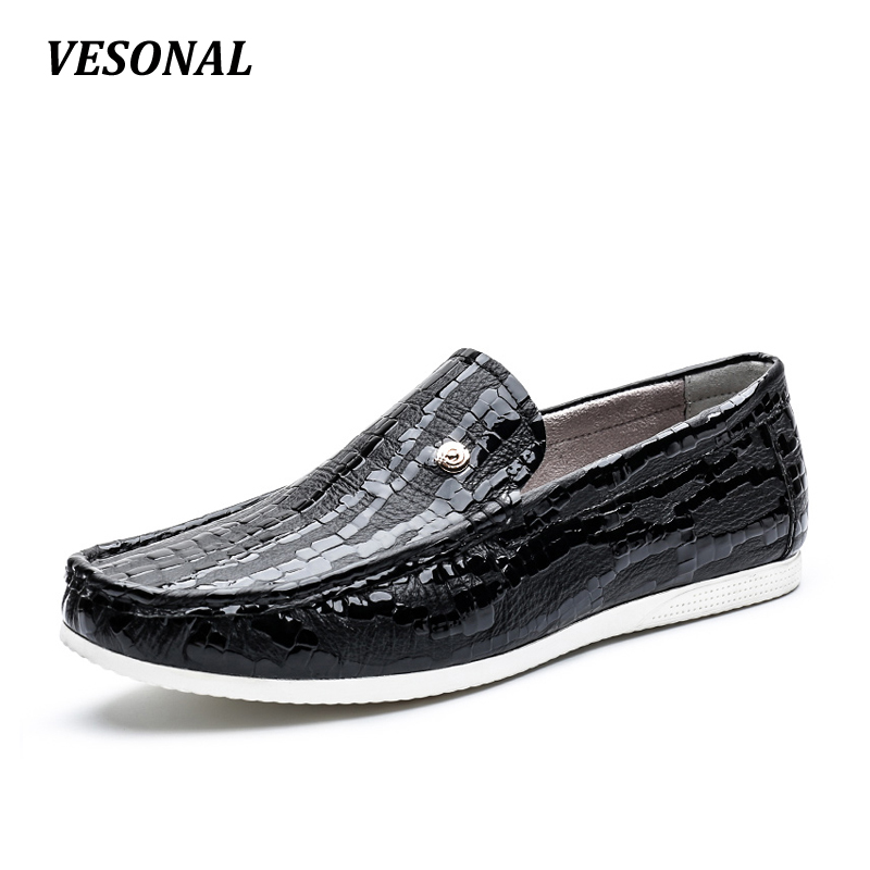 VESONAL Summer 100% Luxury Genuine Leather Loafers Men Shoes Fashion Flats Slip On Mens Shoes Casual Classic Designer SD7037 vesonal 2017 summer luxury driving breathable genuine leather flats loafers men shoes casual fashion slip on size 38 44 v1602