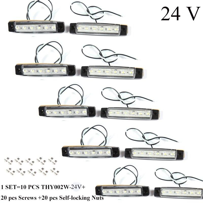 10 шт. AOHEWEI 24 В LED белый передняя сторона маркер световой индикатор положение лампы с отражатели для прицепы грузовик RV-in Система освещения для грузовика from Автомобили и мотоциклы