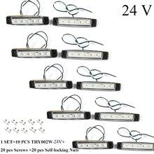 10 pcs aohewei 24 v led 흰색 전면 마커 라이트 표시기 트레일러 트럭 트럭 rv에 대 한 반사기와 위치 램프