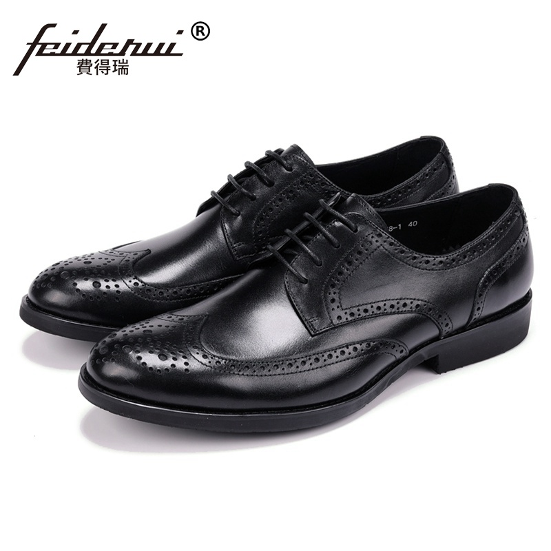 New Vintage Genuine Leather Man Formal Dress Shoes Round Toe Derby Men's Carved Wing Tip Brogue Business Office Footwear JS115