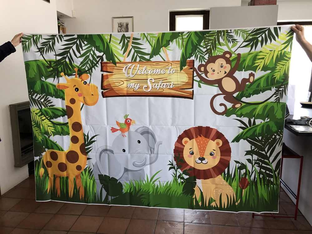 Woodland Jungle Safari parti fotoğraf arka fonu hayvanlar orman fotoğraf arka plan mutlu doğum günü tema parti dekorasyon 944