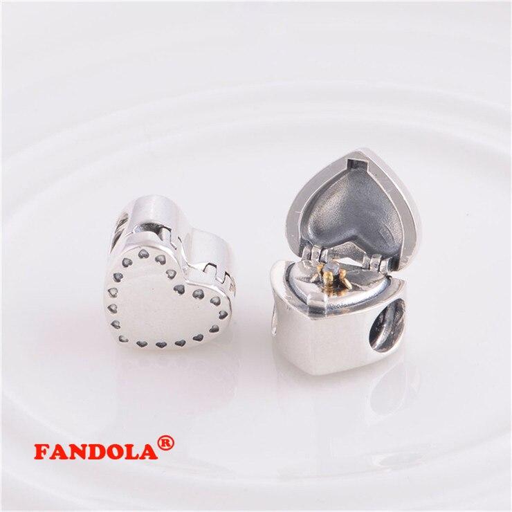 Pandora Charms Bilezikler için uygun Kalp Boncuk 14 K Altın Kaplama - Takı - Fotoğraf 4