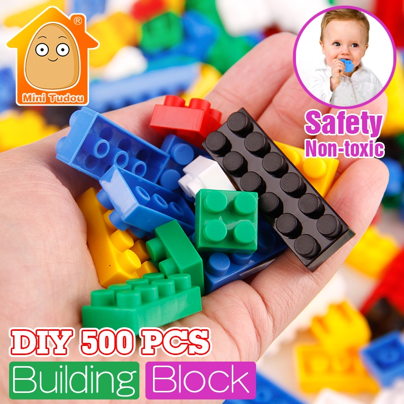 MiniTudou New Colorful 500pcs Basic Small Blocks Educational Creative DIY Building Blocks Bricks Toys Gifts For Children new big size 40 40cm blocks diy baseplate 50 50 dots diy small bricks building blocks base plate green grey blue