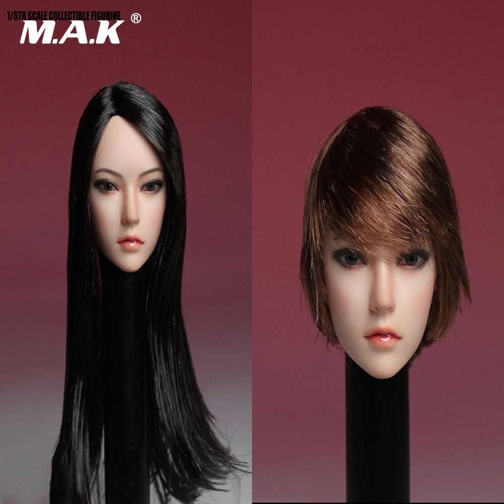 1:6 Scale Asia Female Head Sculpt Black Long Straight/Brown Short Hair Head Carving Model Toy for 12 inches Woman Body Figure 1 6 scale female head carving nier head automata 2b girl long white hair head sculpt for 12 inches bodies