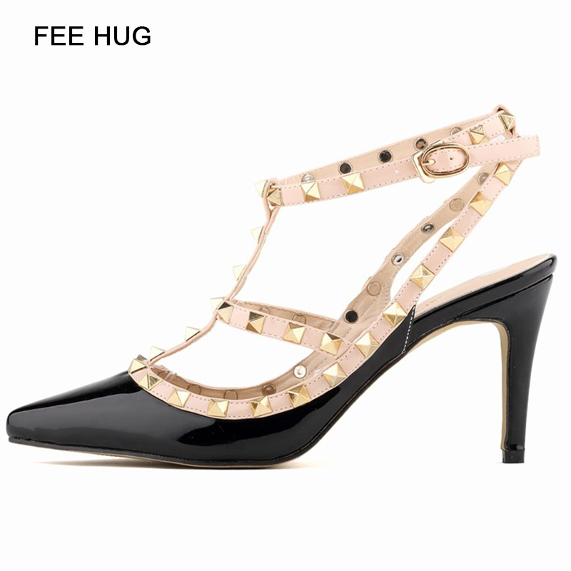 Sexy Rivet Wedding Pumps 2017 Fashion Women High Heels Hollow Sandals Buckle Studded Stiletto Sandals Shoes For Woman denim zipper hollow worn stiletto womens sandals