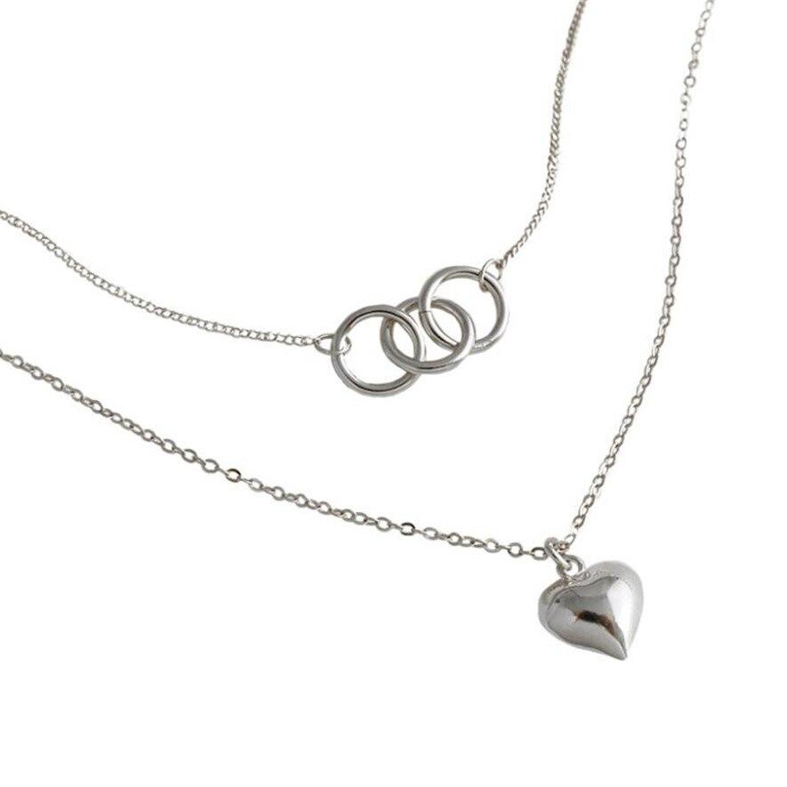 Tendance multicouche colliers en argent Sterling mode géométrique trois cercles coeur pendentif collier pour femmes élégant bijoux