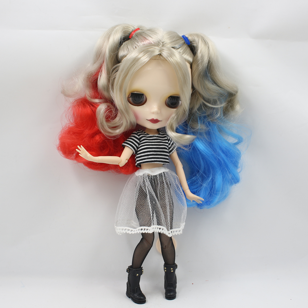 Nude BJD Blyth Doll with joint body Red Blue mix light gold hair fashion Bjd 1/6 blyth doll model toys for kids