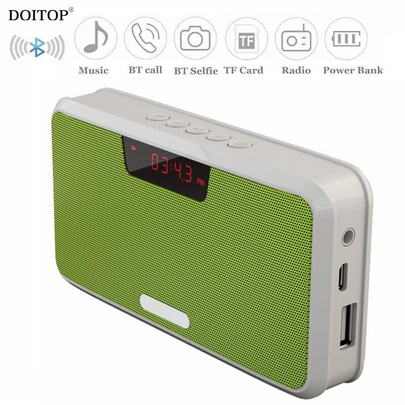 DOITOP Mini Portable Sans Fil Bluetooth Stéréo Haut-Parleur Hifi Musique MP3 Player Sound avec la Banque D'alimentation FM Radio TF carte BT Appel