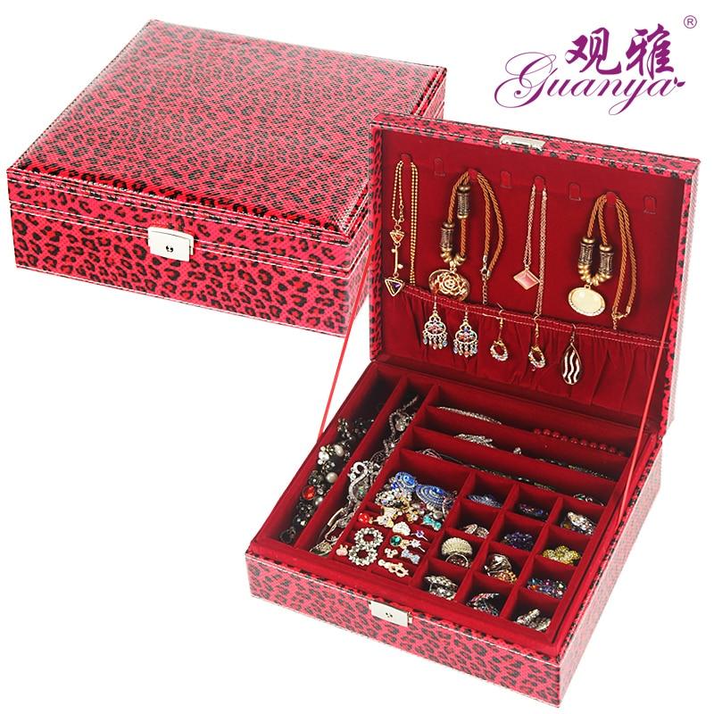Leopard Pattern Large Capacity Necklace Storage Box Senior Leather 2 Layers Jewelry Box European Style Cosmetics Organize