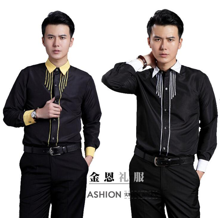 Hot Brand 2018 spring Fashion clothes Men shirt long sleeve slim fit mens host dress shirts male singer stage Costumes S-3XL