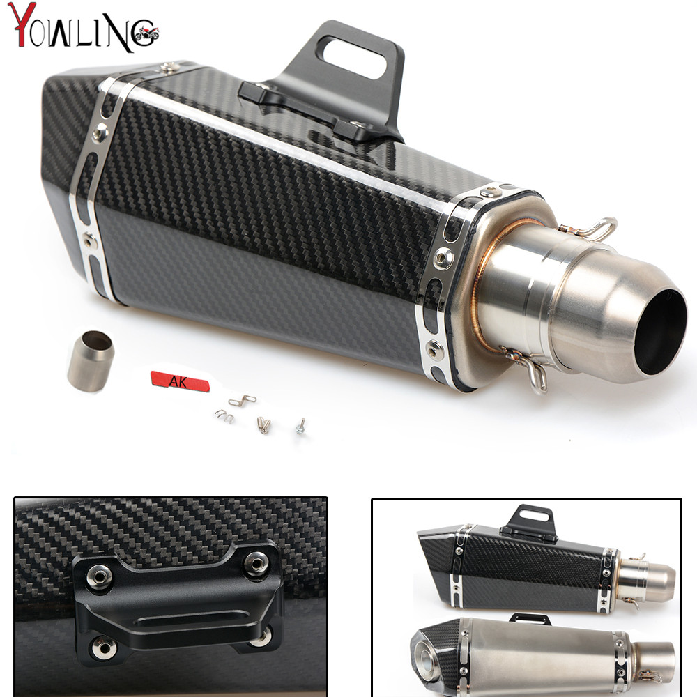 Motorcycle Real carbon fiber exhaust Exhaust Muffler pipe For honda CBR 1000 RR 1000RR CBR1000RR Cbr 600 yzf r3 MT07 YZFR3 free shipping carbon fiber id 61mm motorcycle exhaust pipe with laser marking exhaust for large displacement motorcycle muffler