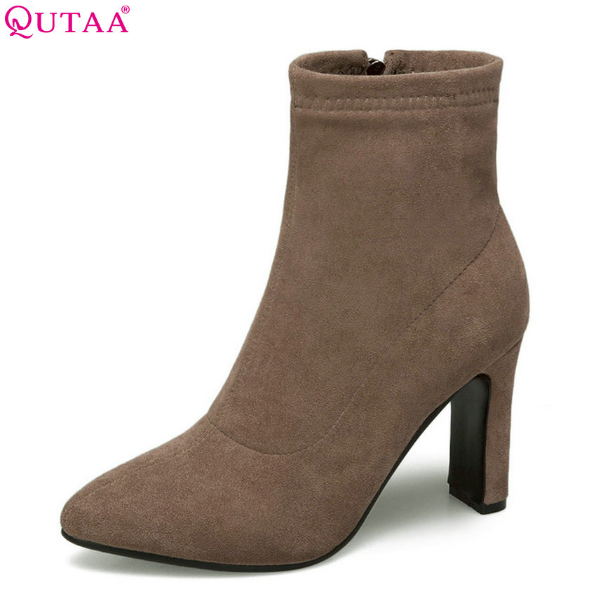 QUTAA 2019 Women Ankle Boots Flock Thin High Heel Women