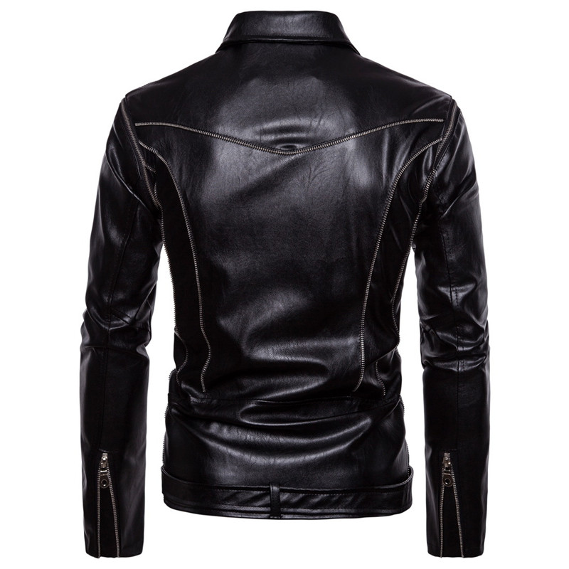 2018 New Men's Locomotive Leather Detachable Sleeves Jackets Casual Men PU Leather Jacket Clothing for Male Motorcycle Autumn-in Jackets from Men's Clothing    3
