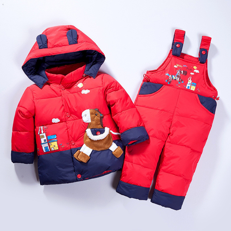 2017 New Winter Children Duck Down Jacket Set Pants-Jacket Clothing Girls Baby Coat Jacket
