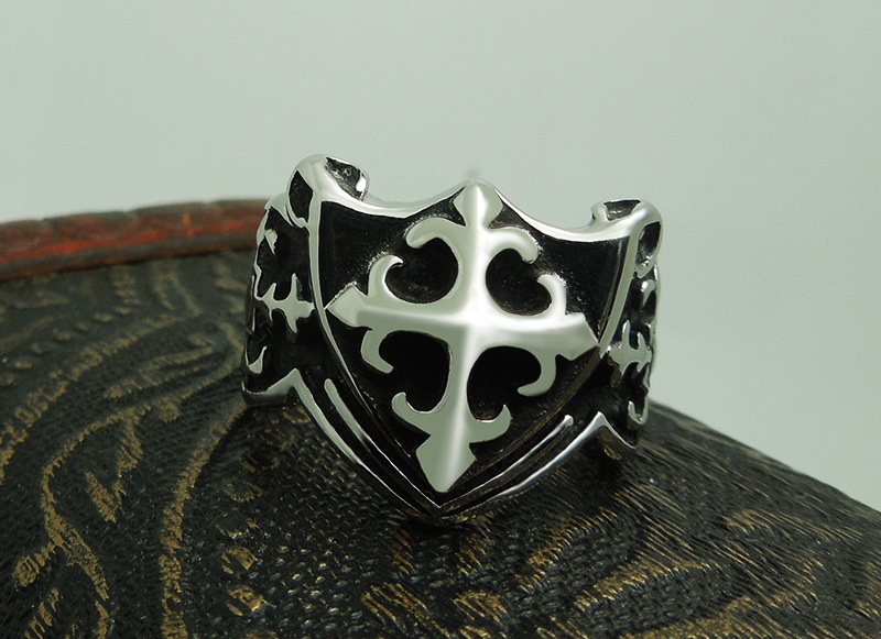 1pcs Europe fashion Polishing Cross pattern Scout flower Shield ring - Fashion Jewelry - Photo 5