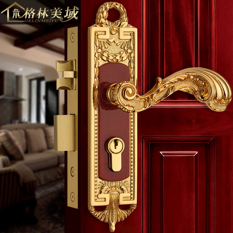 Copper lock European copper door lock full copper interior door lock villa door lock bedroom ceramic lock the door when indoor european ball lock hold hand lock copper core s 026