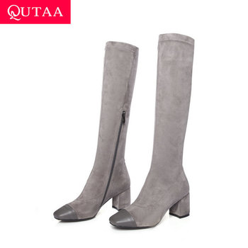 QUTAA 2020 Cow Leather Flock Comfort Stretch Boots Thick Heel Zipper Women Knee High Boots Winter Square Toe Boots Size 34-39
