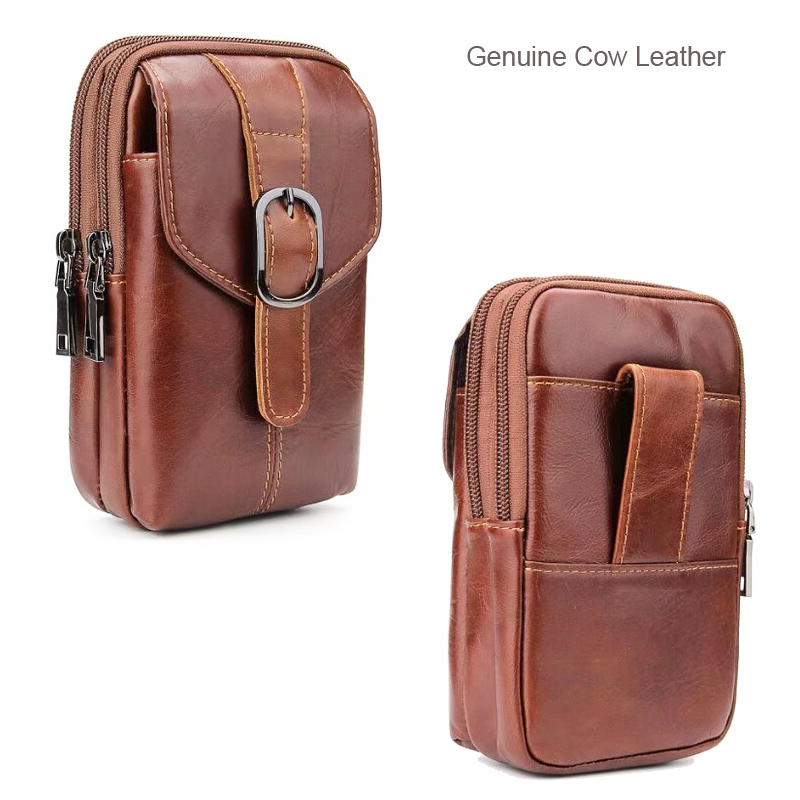 Belt Clip Man Genuine Cow Leather Mobile Phone Case Pouch ...