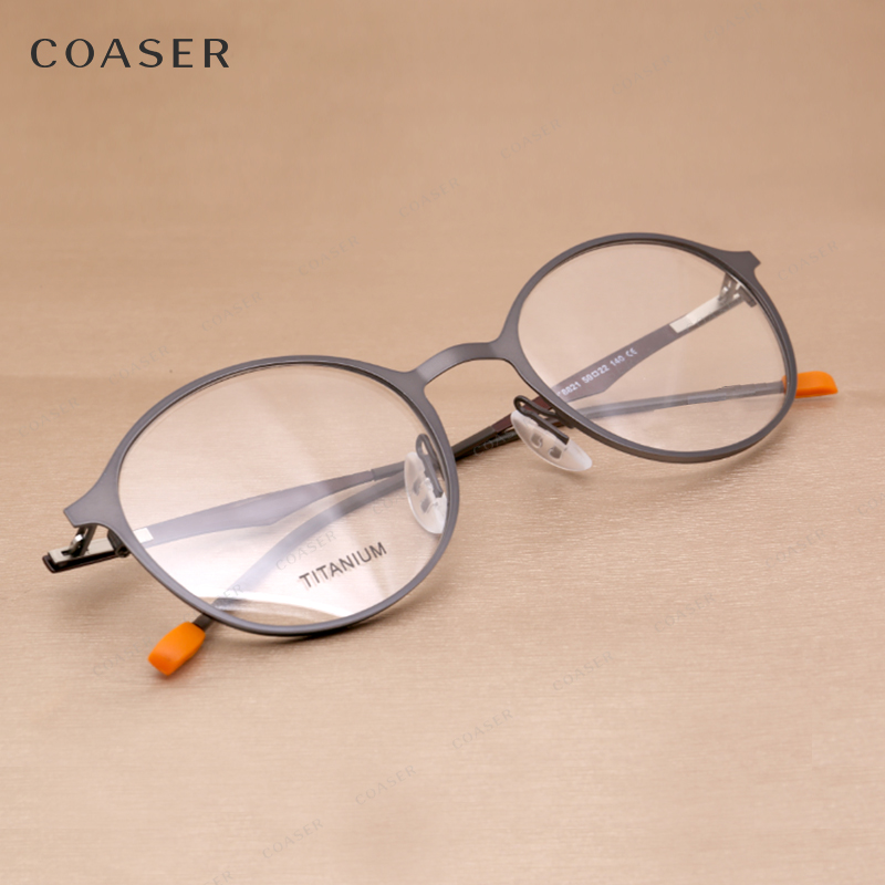Vintage Brand Round Metal Glasses Men Optical Frame Computer Glasses ...