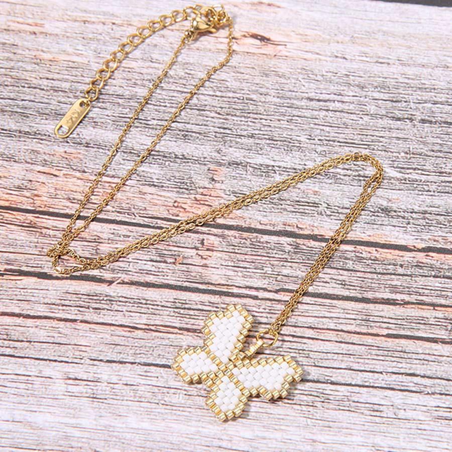 Trendy Butterfly Women Necklaces & Pendants Girl Miyuki Glass Beads Handmade Charm Necklace Friendship Stainless Steel Jewelry