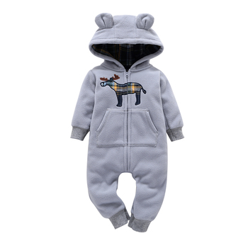 Warm Bear Shaped Hooded Baby Jumpsuit 2
