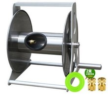 Stainless steel wall mounted reel cart for 15-40m garden water hose With 2m hose and 2pcs brass quick hose connector