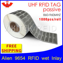 UHF RFID tag sticker Alien 9654 EPC6C wet inlay 915mhz868mhz860-960MHZ Higgs3 1000pcs free shipping adhesive passive RFID label