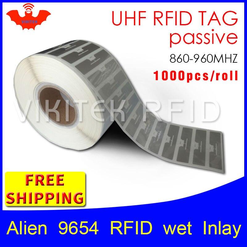 UHF Rfid-наклейки Higgs3 Чужеродных 9654 EPC6C мокрый декор 915mhz868mhz860-960MHZ 1000 шт. бесплатная доставка клей пассивные Rfid-метки