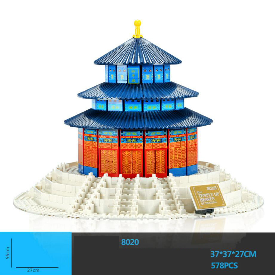 2018 World Famous Architecture Perking The Temple of Heaven Beijing China Building Block Model Brick Educational Toys for Gifts hot world famous architecture the leaning tower of pisa italy building block model bricks educational toys collection for gifts
