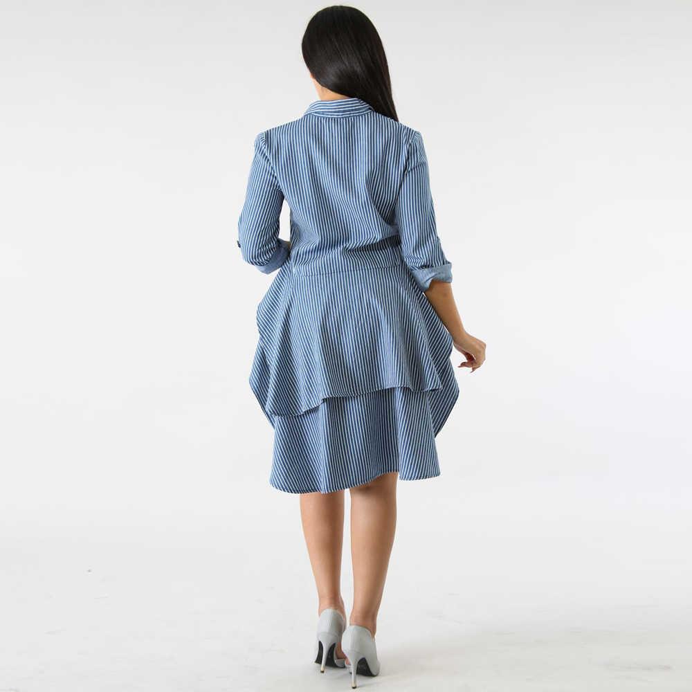 754d9591a ... Striped Blouse Shirt Women Turn-Down Collar Long Sleeve Ruffle Hem  Blouse Summer Top Button ...