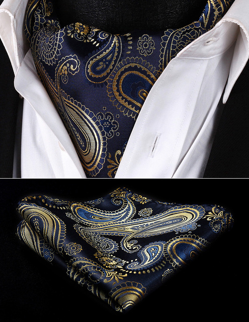 RP921VS Navy Blue Gold Paisley Men Silk Cravat Ascot Tie Handkerchief Set Party Classic Pocket Square Wedding