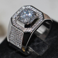Fashion Jewelry Solitaire Men 8mm Gem 5A Zircon stone 14KT White Gold Filled Engagement Wedding Band Ring Sz 7-13