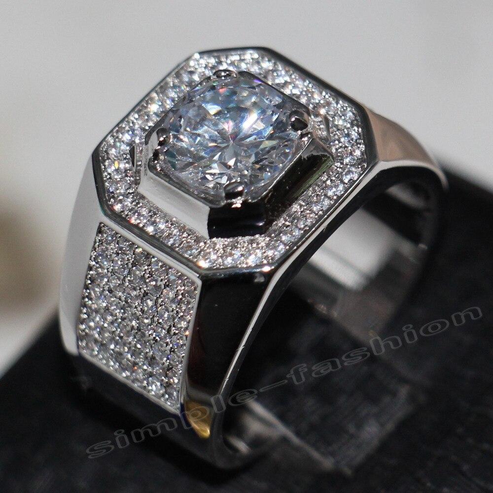Mode Bijoux Solitaire Hommes 8mm Gem 5A Zircon pierre en Or Blanc 14KT Rempli Engagement Wedding Band Anneau Sz 7-13