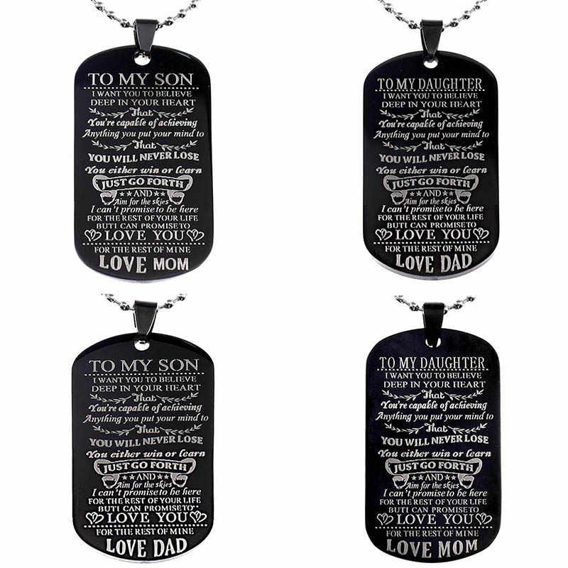 Benim oğul kızı istiyorum seçtiğiniz inanıyorum aşk baba anne köpek etiketi askeri kolye top zincir hediye en Son doğum günü mezuniyet