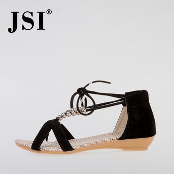 JSI New Ankle Strap Women Sandals Summer Fashion Lace-Up Dress Casual Lady Shoes Sexy String Bead Cover Heel Party Sandals JO68