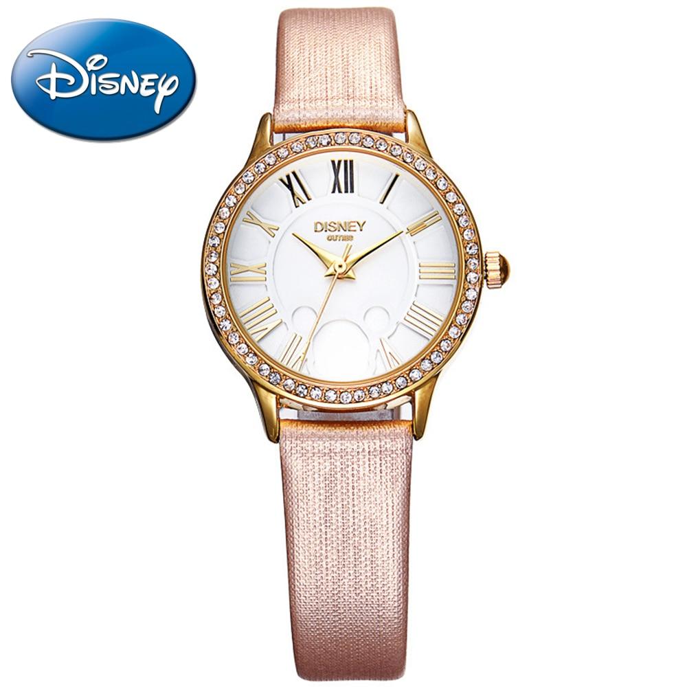 ФОТО 2016 famous best Disney women luxury rhinestone watch women's fashion casual quartz round girl's watch Cutie leather 51168 steel