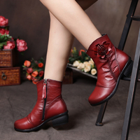 Dropshipping Winter New Fashion Women Shoes Woman Flower Genuine Leather Ankle Boots Female Casual Soft Platform Vintage Boots