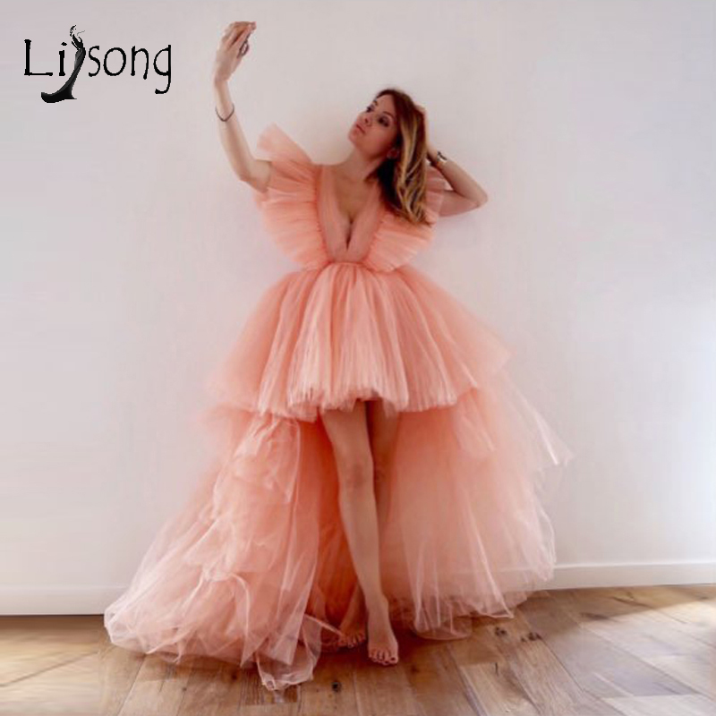 2019 Pretty Peach High Low Tulle Evening Dresses Ruffles Fashion Long Tutu Prom Gowns Sexy Deep V-neck Party Dresses