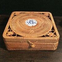 Vietnam Autumn Rattan Rdensely Knitted Pu Er Tin Tea Box Organizer Square Tea Tin Storage Box