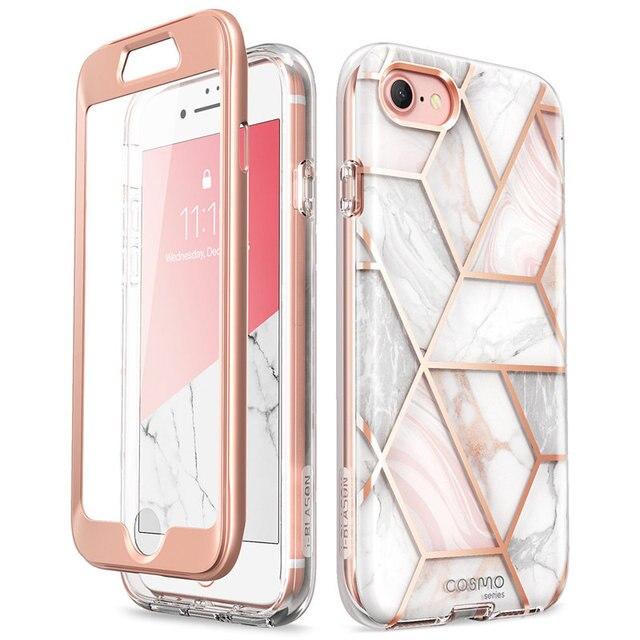 Capa para iphone se 2020, case de corpo inteiro para iphone 7/8, 4.7 polegadas, i blason cosmo, amortecedor de mármore capa com protetor de tela embutido