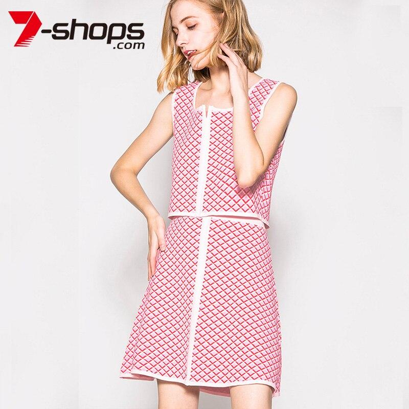 Pièces magasins Minijupe Treillis Ensemble 7 Pink Cultures Ab0187 Zipper Costumes Deux Hauts De Ol Femelle Jupes Été Ensembles Manches Femmes qt1qdf