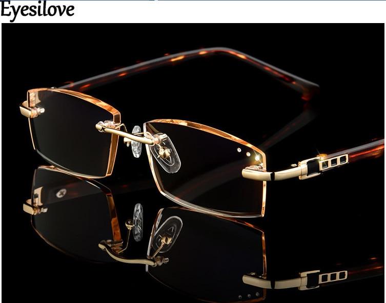 Classic Luxury Rhinestone Reading Glasses Women Diamond Cutting Rimless Glasses men's Presbyopic Eyeglasses +1.0 to +4.0
