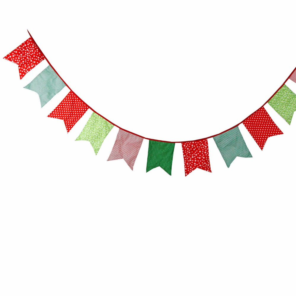12 Flags 35m Green Red Five Corner Merry Christmas Garland Banner Bunting Birthday Party Home Decoration In Banners Streamers Confetti