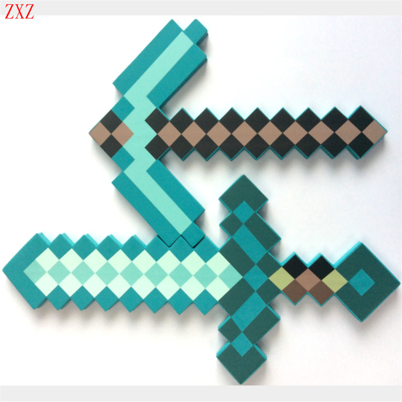 Cosplay 45-60cm Newest Minecraft Toys Colorful Minecraft Sword Foam Action Figures Toys Children Foam Sword & Pickaxe Toys gift 12pcs set children kids toys gift mini figures toys little pet animal cat dog lps action figures