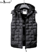 2018 New Sleeveless Jacket Coat For Men Fashion Warm Hooded Male Winter Jackets Down Vest Mens Work Vests Waistcoat Gilet Homme